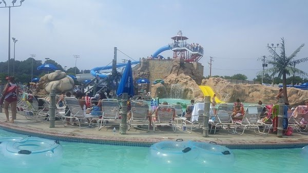 People at a water park