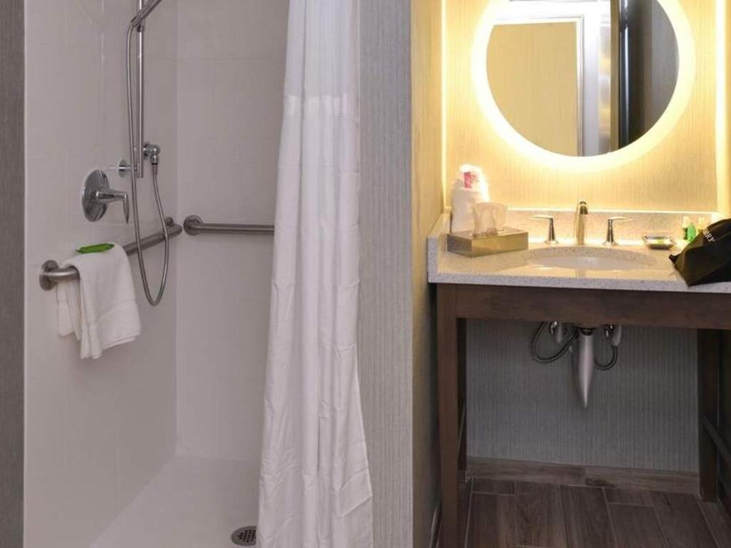 Bathroom and sink with mirror